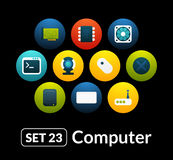 Flat icons vector set 23 - computer collection Stock Photo