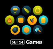 Flat icons vector set 14 - game collection Stock Photography