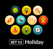 Flat icons vector set 11 - holiday collection. For phone watch or tablet stock illustration