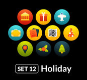 Flat icons vector set 12 - holiday collection. For phone watch or tablet royalty free illustration