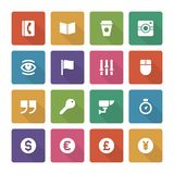 Flat icons vector set and long shadow effect for Royalty Free Stock Photos