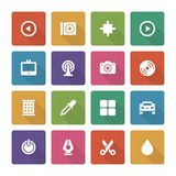 Flat icons vector set and long shadow effect for Royalty Free Stock Photo