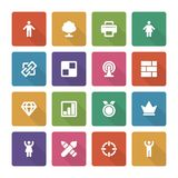 Flat icons vector set and long shadow effect for Royalty Free Stock Images