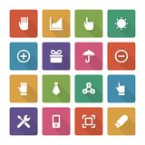 Flat icons vector set and long shadow effect for Stock Photo