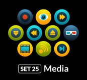 Flat icons vector set 25 - media collection. For phone watch or tablet Stock Images