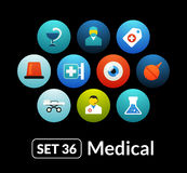Flat icons vector set 36 - medical collection. For phone watch or tablet Stock Photos