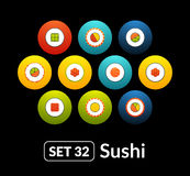 Flat icons vector set 32 - sushi collection. For phone watch or tablet Royalty Free Stock Images