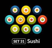 Flat icons vector set 31 - sushi collection. For phone watch or tablet Royalty Free Stock Photos