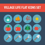 Flat icons village life set. Set of 12 flat vector icons, village country life, lifestyle Royalty Free Stock Photography