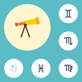 Flat Icons Virgin, Optics, Zodiac Sign And Other Vector Elements. Set Of  Flat Icons Symbols Also Includes Telescop Stock Photo