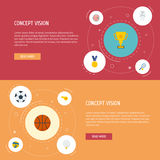 Flat Icons Volleyball, Rocket, Ball And Other Vector Elements. Set Of Fitness Flat Icons Symbols Also Includes Start Stock Images