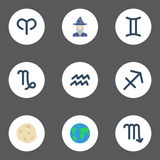 Flat Icons Water Bearer, Comet, Goat And Other Vector Elements. Set Of  Flat Icons Symbols Also Includes Ram, Augu. Flat Icons Water Bearer, Comet, Goat And Stock Photos