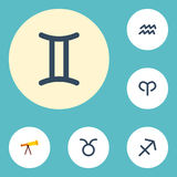 Flat Icons Water Bearer, Ram, Optics And Other Vector Elements. Set Of Astronomy Flat Icons Symbols Also Includes Bull Royalty Free Stock Photos