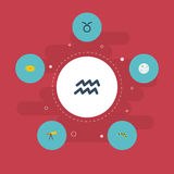 Flat Icons Water Bearer, Space, Horoscope And Other Vector Elements. Set Of Astronomy Flat Icons Symbols Also Includes Stock Images