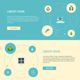 Flat Icons Water, Isle Beach, Eco Energy And Other Vector Elements. Set Of Eco Flat Icons Symbols Also Includes Energy Stock Image