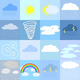 Flat icons of weather. Flat icons of sunny, rainy, cloudy and snowy weather Stock Image