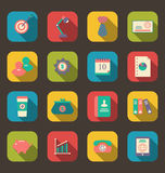 Flat icons of web design objects, business and office items, lon. Illustration flat icons of web design objects, business and office items, long shadow style Royalty Free Stock Photography