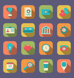 Flat icons of web design objects, business, office and marketing Stock Photos