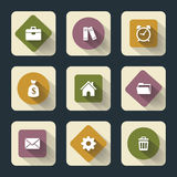 Flat icons for web and mоbile, white on colored basis with long shadow Stock Photography