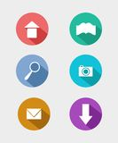Flat icons for web and mobile applications. Icons for web and mobile applications. Flat design with long shadows Stock Photo