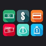 Flat icons for web and mobile applications with money signs Royalty Free Stock Image