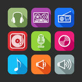 Flat icons for web and mobile applications with musical items Royalty Free Stock Image