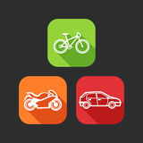 Flat icons for web and mobile applications with private transport Royalty Free Stock Photos