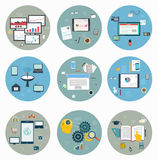 Flat icons for web and mobile, business strategy. Concept mobile applications, journalism, workspace royalty free illustration