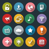 Flat icons for web and mobile, white on colored basis with long shadow Royalty Free Stock Photography