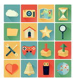 Flat icons web set. Vintage color royalty free illustration