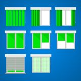 Flat icons for windows and louvers. Royalty Free Stock Photography