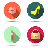 Flat icons with women's accessories Royalty Free Stock Photos