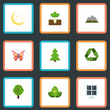 Flat Icons Wood, Landscape, Sprout Vector Elements. Set Of Nature Flat Icons Symbols Also Includes Wood, Plant, Panel. Set Of Nature Flat Icons Symbols Also Stock Photos