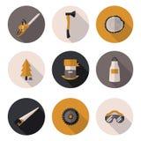 Flat icons Woodman Stock Image