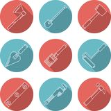 Flat icons for woodwork tools Stock Image