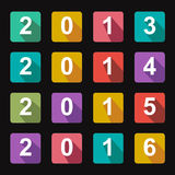 Flat icons years 2014. Colorful flat icons years from 2013 to 2016 Royalty Free Stock Images