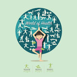 Flat Icons with yoga girl character design infographic,health. stock illustration