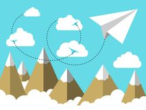 Flat illustration Airplane or plane paper flying in the sky above clouds and over mountain landscape. Flat illustration of Airplane or plane paper flying in the vector illustration