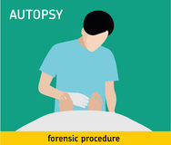 Flat illustration. Autopsy. Forensic procedure. Autopsy. Forensic procedure. The pathologist conducts the autopsy of the murder victim vector illustration