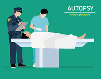 Flat illustration. The autopsy of the murder victim. Forensic procedure. The autopsy of the murder victim. Forensic procedure. Police and the coroner are stock illustration