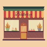 Flat Illustration of the bakery. Bakery shop building facade with signboard. Flat style illustration or icon. EPS 10 vector Stock Illustration