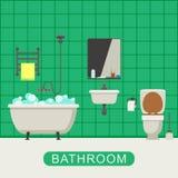 Flat illustration of bathroom. Royalty Free Stock Photos