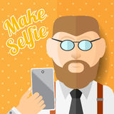 Flat illustration beard man hipster with smartphone phone or gadget make photo of himself Stock Image