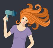 Flat  illustration of beautiful redheaded woman with hairdryer Stock Photo