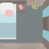 Flat illustration bedrooms with furniture Stock Images