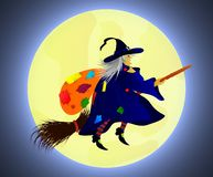 Flat illustration of Befana flying on a broom with a bag on her back. stock illustration