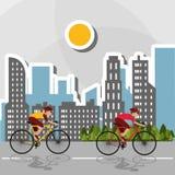 Flat illustration of bike lifesyle design, edita Royalty Free Stock Photography