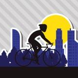 Flat illustration of bike lifesyle design, edita Stock Photography
