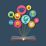 Flat illustration with book and icons. Eps10 Stock Images