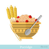 Flat illustration bowl of porridge with strawberry and spikelets near Stock Images